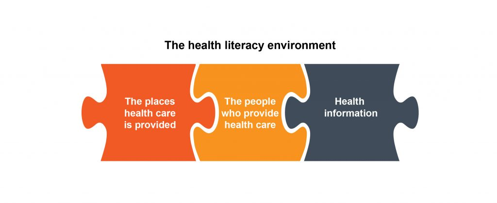puzzle pieces showing health literacy environment made up of places, people and information